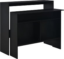 vidaXL Bar Table with 2 Table Tops Black