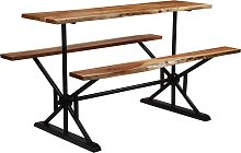 vidaXL Bar Table with Benches Solid Acacia Wood