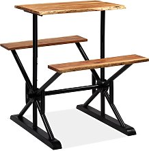 vidaXL Bar Table with Benches Solid Acacia Wood