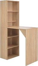 vidaXL Bar Table with Cabinet Oak 115x59x200 cm