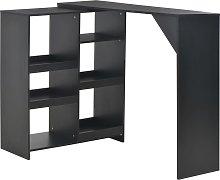 vidaXL Bar Table with Moveable Shelf Black