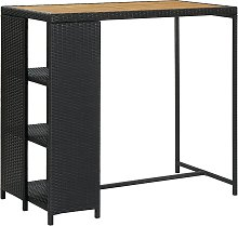 vidaXL Bar Table with Storage Rack Black