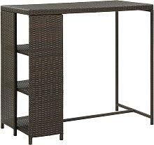 vidaXL Bar Table with Storage Rack Brown