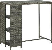 vidaXL Bar Table with Storage Rack Grey 120x60x110