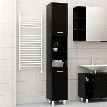 vidaXL Bathroom Cabinet High Gloss Black 30x30x179