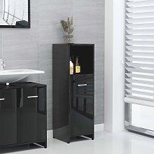 vidaXL Bathroom Cabinet High Gloss Black 30x30x95