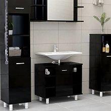 vidaXL Bathroom Cabinet High Gloss Black