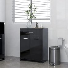 vidaXL Bathroom Cabinet High Gloss Black 60x33x80