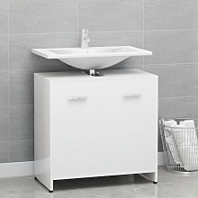 vidaXL Bathroom Cabinet High Gloss White 60x33x58