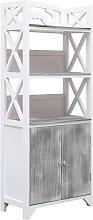 vidaXL Bathroom Cabinet White and Grey 46x24x116