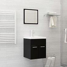 vidaXL Bathroom Furniture Set Black Chipboard
