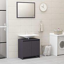 vidaXL Bathroom Furniture Set Grey Chipboard
