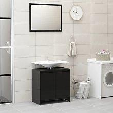 vidaXL Bathroom Furniture Set High Gloss Black