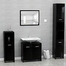 vidaXL Bathroom Furniture Set High Gloss Black Chipboard