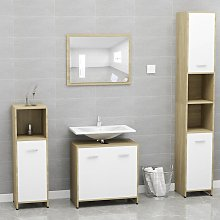 vidaXL Bathroom Furniture Set White and Sonoma Oak