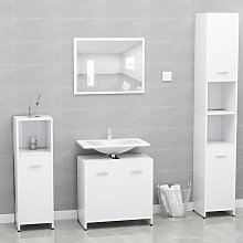 vidaXL Bathroom Furniture Set White Chipboard