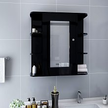 vidaXL Bathroom Mirror Cabinet Black 66x17x63 cm