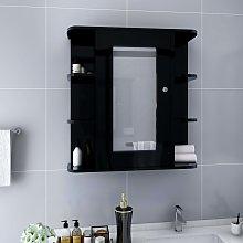 vidaXL Bathroom Mirror Cabinet Black 66x17x63 cm