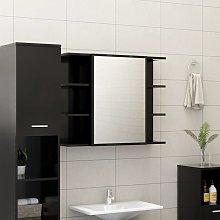 vidaXL Bathroom Mirror Cabinet Black 80x20.5x64 cm