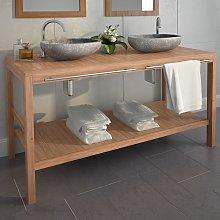 vidaXL Bathroom Vanity Cabinet Solid Teak