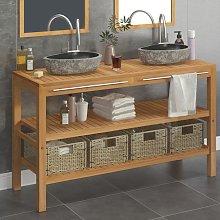 vidaXL Bathroom Vanity Cabinet Solid Teak with