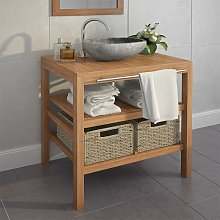 vidaXL Bathroom Vanity Cabinet with 2 Baskets