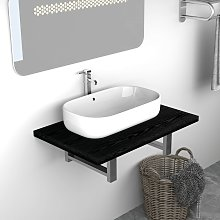 vidaXL Bathroom Wall Shelf for Basin Black