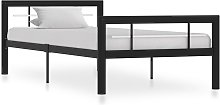 vidaXL Bed Frame Black and White Metal 90x200 cm
