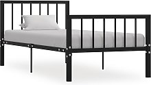 vidaXL Bed Frame Black Metal 100x200 cm