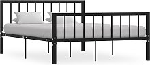 vidaXL Bed Frame Black Metal 135x190 cm