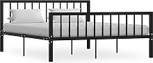 vidaXL Bed Frame Black Metal 150x200 cm
