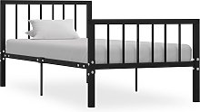 vidaXL Bed Frame Black Metal 90x190 cm