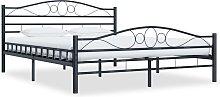 vidaXL Bed Frame Black Steel 140x200 cm