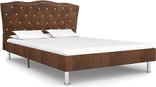 vidaXL Bed Frame Brown Faux Suede Leather 120x190
