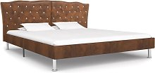 vidaXL Bed Frame Brown Faux Suede Leather 135x190