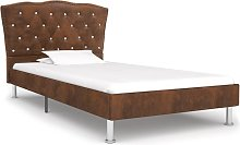 vidaXL Bed Frame Brown Faux Suede Leather 90x190 cm