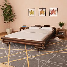 vidaXL Bed Frame Dark Brown Bamboo 140x200 cm