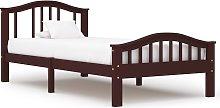 vidaXL Bed Frame Dark Brown Solid Pinewood 100x200