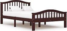 vidaXL Bed Frame Dark Brown Solid Pinewood 120x200