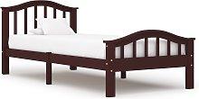 vidaXL Bed Frame Dark Brown Solid Pinewood 90x200