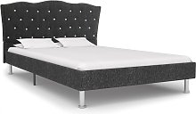 vidaXL Bed Frame Dark Grey Fabric 120x190 cm