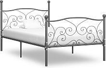vidaXL Bed Frame Grey Metal 100x200 cm