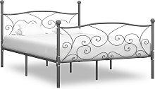 vidaXL Bed Frame Grey Metal 150x200 cm