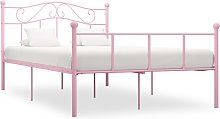 vidaXL Bed Frame Pink Metal 120x190 cm