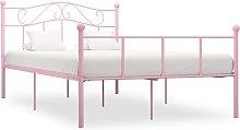 vidaXL Bed Frame Pink Metal 135x190 cm