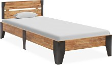 vidaXL Bed Frame Solid Acacia Wood with Brushed