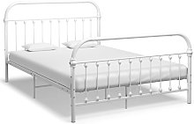 vidaXL Bed Frame White Metal 140x200 cm