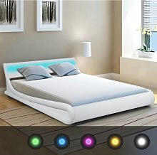 vidaXL Bed Frame with LED 135x190 cm Artificial