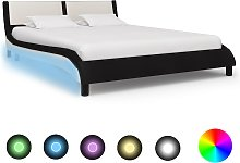 vidaXL Bed Frame with LED Black and White Faux