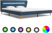 vidaXL Bed Frame with LED Blue Fabric 150x200 cm